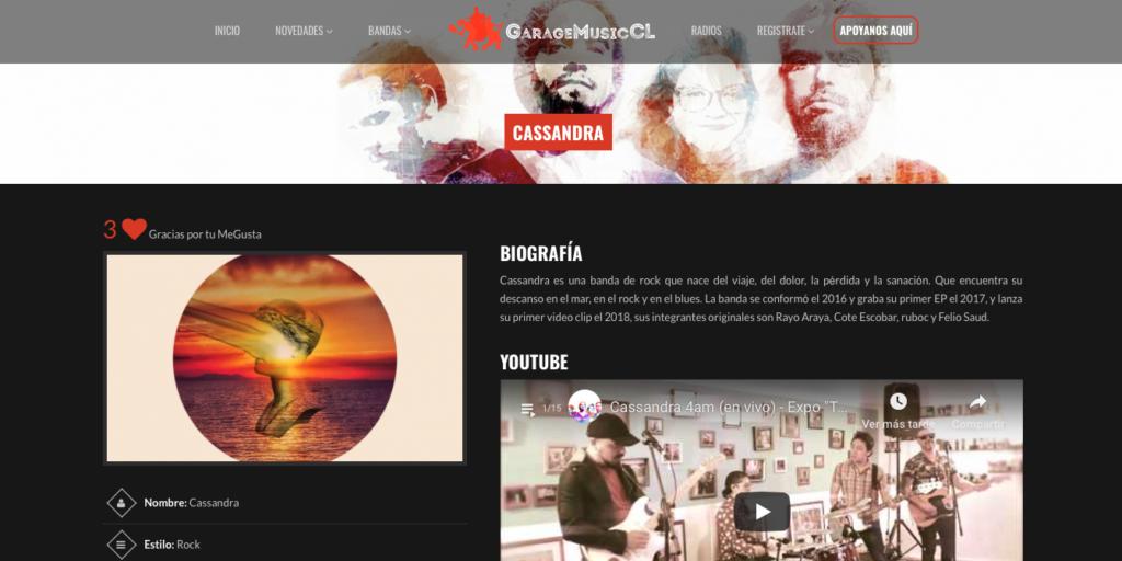 Cassandra en web GarageMusic